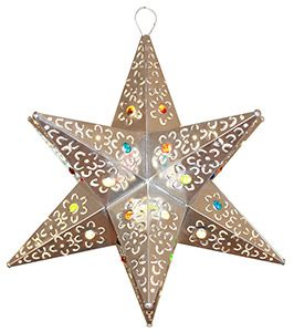 These handmade hanging tin stars from Mexico are the ultimate accent to your rustic or southwestern decor!  The various punched out designs and colorful marbles are absolutely stunning when illuminated and glow from every angle of the four-sided arms.  Hang one in any room of your home for unique decorative lighting. .