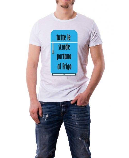 T-Shirt Fiammata Tutte le strade portano al frigo
