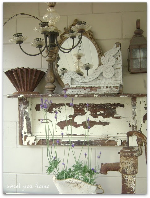 A mantel shelf and a few cute odds and ends and look what u can put together.