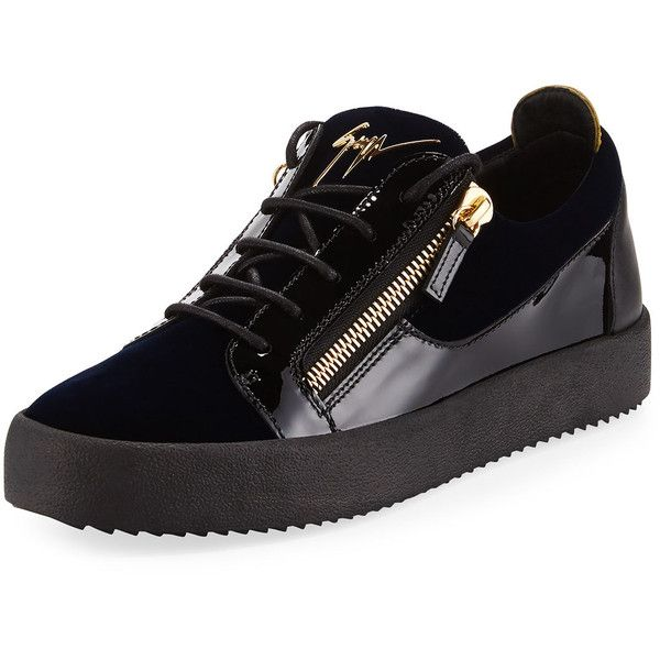 Giuseppe Zanotti Men's Velvet & Patent Leather Low-Top Sneaker ($665) ❤ liked on Polyvore featuring men's fashion, men's shoes, men's sneakers, blue, men's shoes sneakers, mens low profile shoes, mens navy blue sneakers, giuseppe zanotti mens shoes, mens zip shoes and mens velvet shoes
