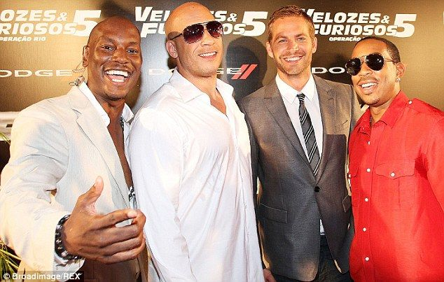 Stars: Paul and Ludacris on the red carpet with Tyrese Gibson and Vin Diesel at the premier of Fast And Furious 5