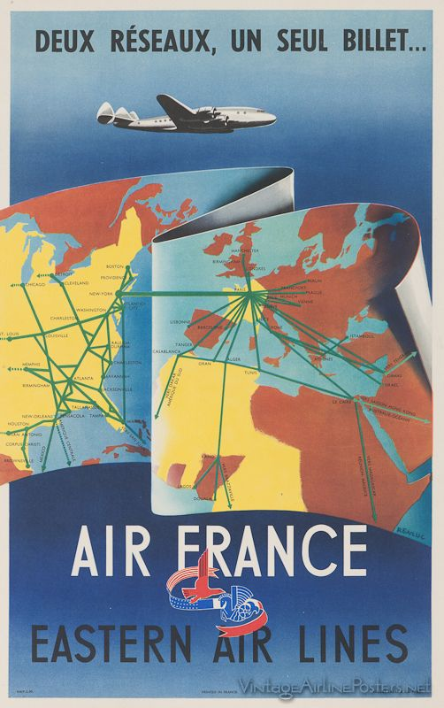 1837 best Connie images on Pinterest Air travel, Vintage ads and - new air france world map flight routes c.1948
