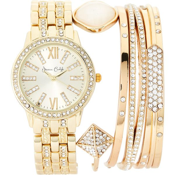 Jessica Carlyle ST2402G695 Stackable Gold-Tone Watch & Bracelet Set (87 PEN) ❤ liked on Polyvore featuring jewelry, watches, metallic, stainless steel watches, stainless steel bangles, bezel watches, watch bracelet and stainless steel jewelry
