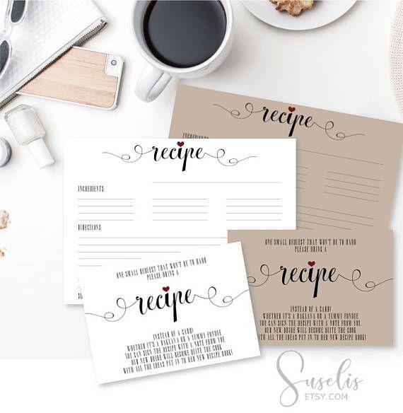 Recipe Cards Bridal Shower Invitation Inserts Bring a Recipe