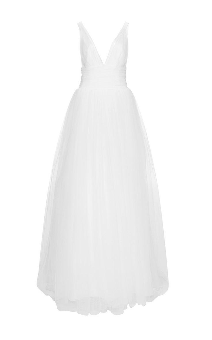 Deep V Neck Tulle Gown by COSTARELLOS for Preorder on Moda Operandi