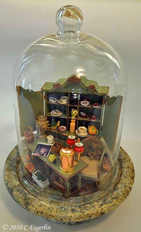 """The Little Round Table: My """"Cloche"""" To Perfect Day.    A lovely idea for a dolls house miniature display. Easy to do and very effective."""