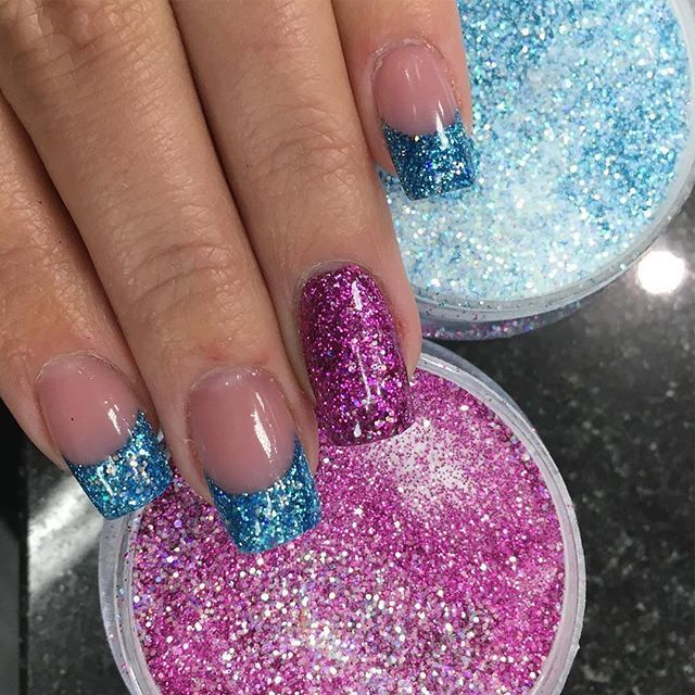 #Repost @heather.personal.image.lansing ・・・ It's all about the glitter. French twist using Tammy Taylor P3, Glam squad prizma and Starry Eyes prizma.  #acrylicnails #tammytaylornails #frenchnails #pinkglitternails #blueglitternails #prizmapowderz #notpoli