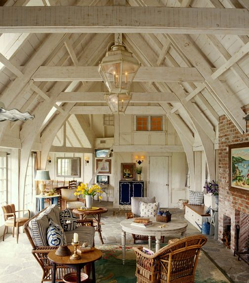 French Normandy Pool House Great Room Designed By Thomas Callaway By Thomas  Callaway Associates, Inc