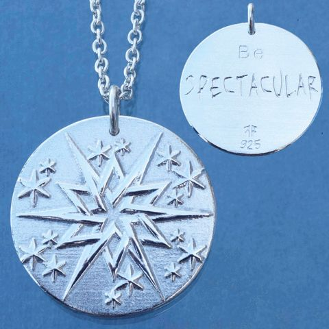 """""""Be spectacular!"""" Encourage your self or someone you care about to be their best, in general or for a particular event. Made out of solid sterling silver, and available in different variants such as oxidized or gold plated. Made in Norway, available at www.illuumi.no  #proverb #inspirationalquotes #inspiration #quotes #gift #amulet #silver #sølv #inspirasjon #amulett #gave #smykke #ordtak #Spektakulær #spectacular"""