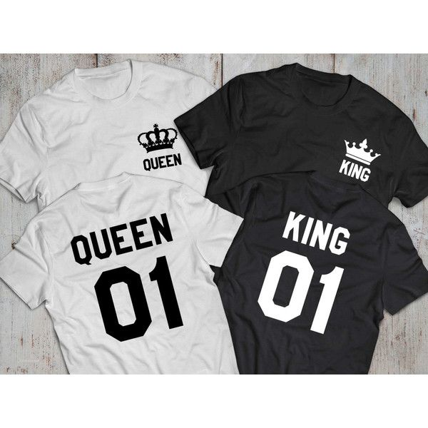 King and Queen shirts with Crowns, King 01, Queen 01 Couples T-shirt... ($33) ❤ liked on Polyvore featuring tops, t-shirts, couple, shirt top, cotton t shirt, cotton shirts, tee-shirt and cotton tee
