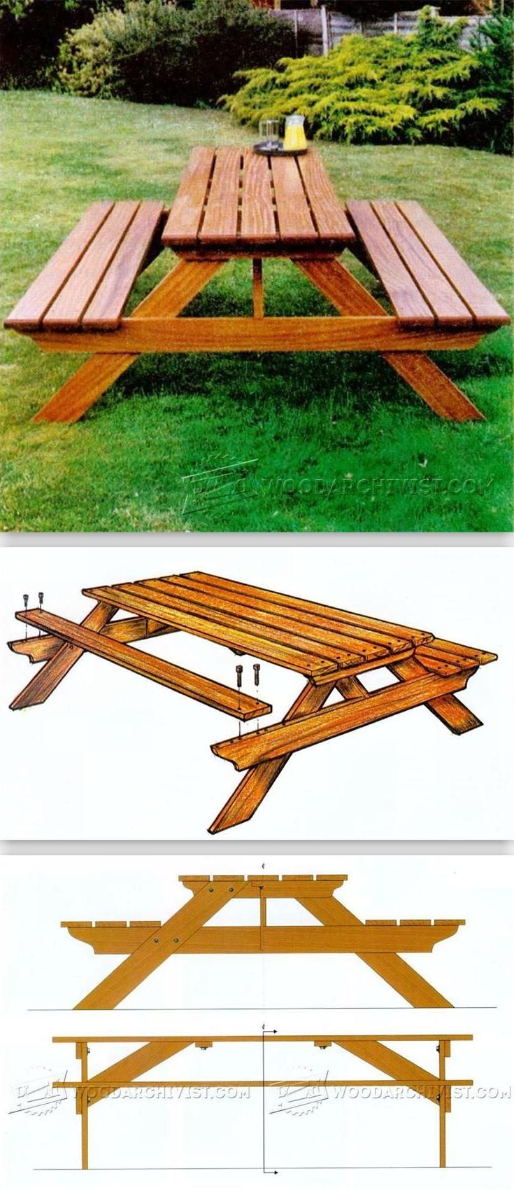 Garden Picnic Table Plans - Outdoor Furniture Plans and Projects | WoodArchivist.com