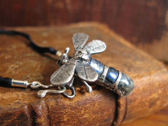 Handcrafted Unique Solid Silver and Dichroic Glass Bug Pendant - Blue Dragonfly on 100% Silk Cord - Fully UK Hallmarked on Etsy, $98.86