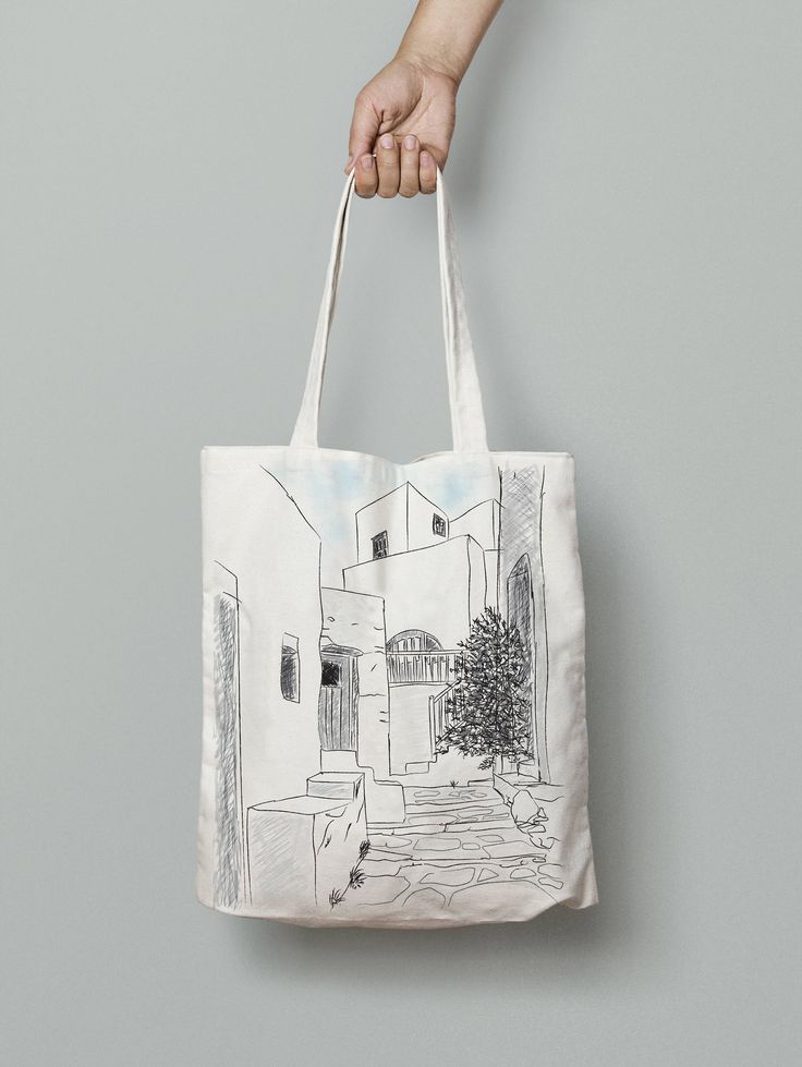 Amorgos bag, summer tote bag, Canvas tote, printed tote bag, Sketch art, made in greece, beach bag tote, tote bag canvas, summer gifts, bags by 2eggsProject on Etsy