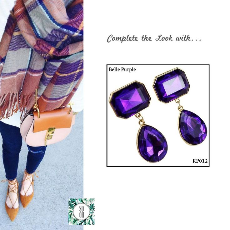 Ref: RP012 Belle Purple Medidas: 5.5 cm x 2.5 cm So-Oh: 10.99  #sooh_store #onlinestore #brincos #earrings #fashion #shoponline #inspiration #styleinspiration #aw2016 #aw1617 #winter #style