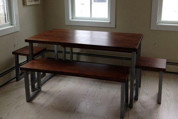 Wide Plank Hardwood Industrial Dining Set by blueridgewoodworking, $1200.00