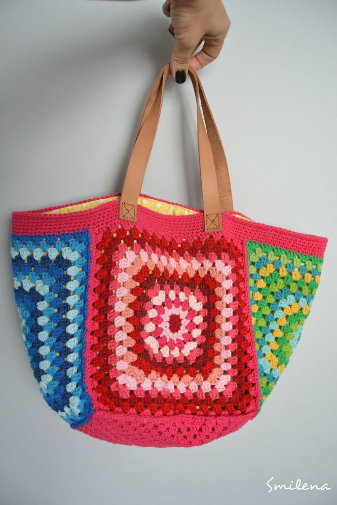 s m İ l e n a..: Granny Square ile  çanta yapımı