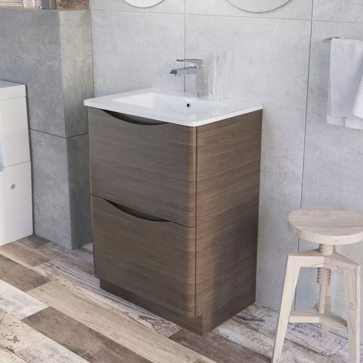 Erin Floor Mounted 600 mm Vanity Unit Grey Elm with White Glass Basin - Bathroom…