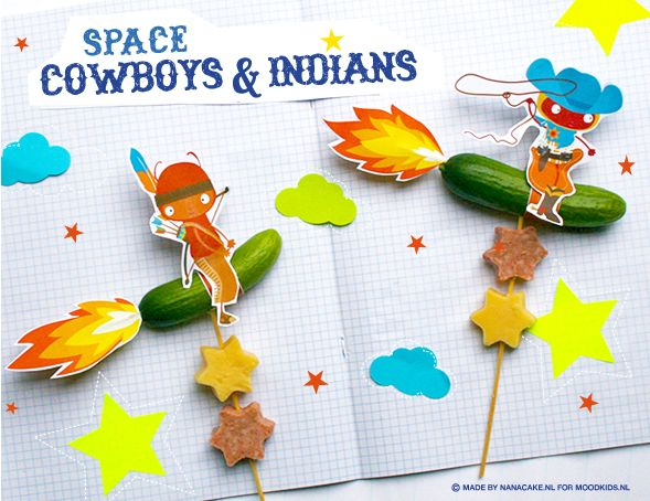 Space cowboys & indians You will need: - Mini cucumbers - Cheese - Sausage meat (any type of sandwich meat that kids like) - Toothpicks & sate sticks - Small star cookie cutter - Scissors, glue, and tape Instructions: DOWNLOAD