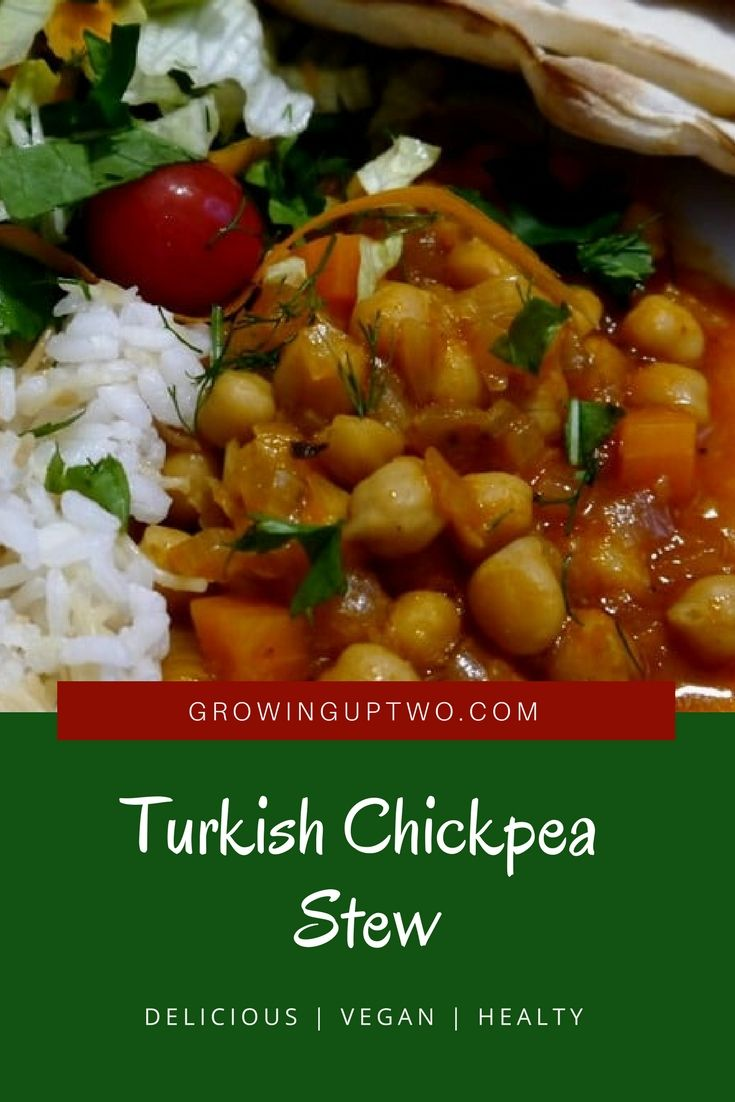 The Turks are famous for their olive oil based dishes and this chickpea stew is a staple in most Turkish family homes. We prefer the veggie version as shown, but many do add either chicken pieces or meat (see the recipe note section if you want to meaty things up!).