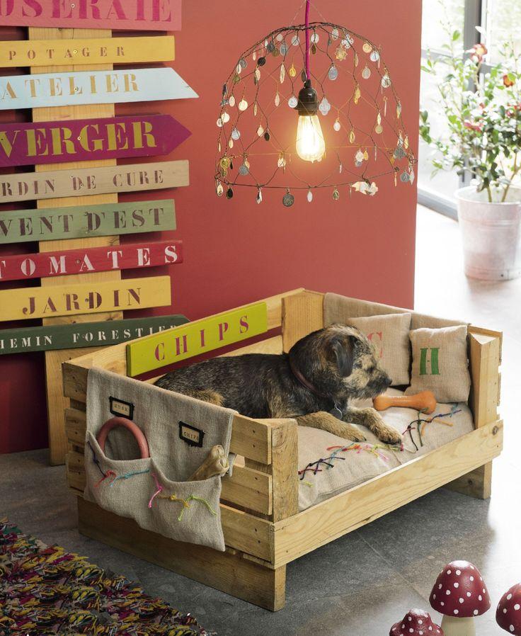 Una deliziosa cuccia per il cane fai da te realizzata internamente con bancali di recupero. Di arredo e comodissima!