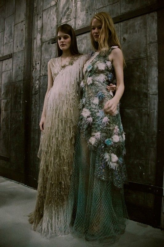 Heavily embellished punk mermaid gowns with shimmering beading and seat net backstage at Rodarte SS15 NYFW. More images here: http://www.dazeddigital.com/fashion/article/21618/1/rodarte-ss15