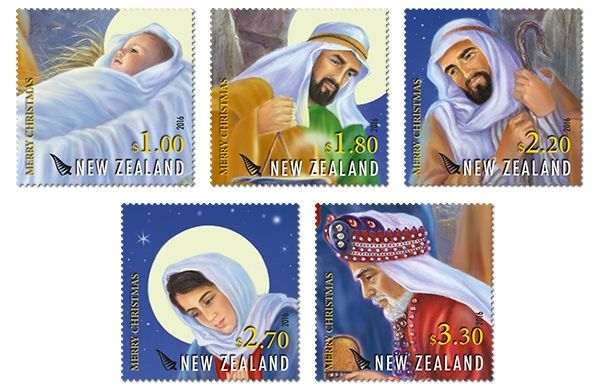 The New Zealand Christmas 2016 stamp issue depicts the traditional nativity story, with a twist!