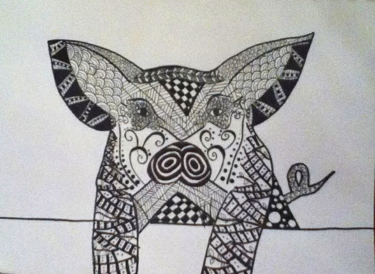 Zentangle pig my creations pinterest zentangle for Dog crafts for adults
