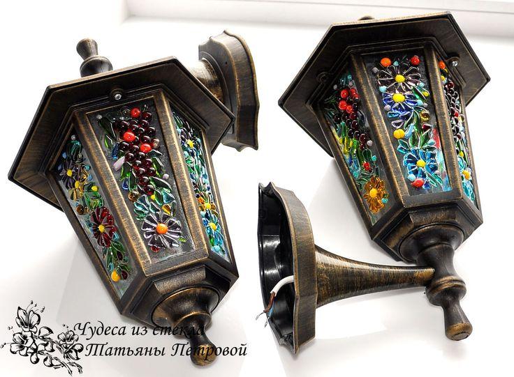 Купить фонарь, бра, светильник, освещение дома, фьюзинг - фонарь, бра, светильник ручной работы