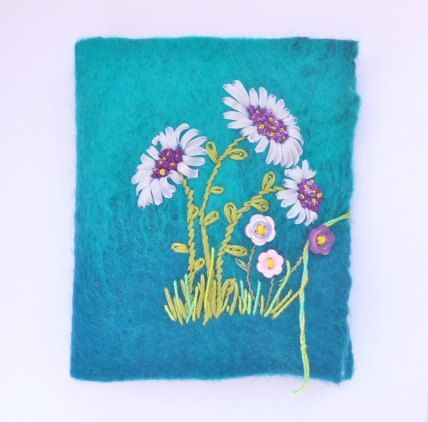 Needlebook Nuno felted and ribbon embroidered by ChrysArtGlass