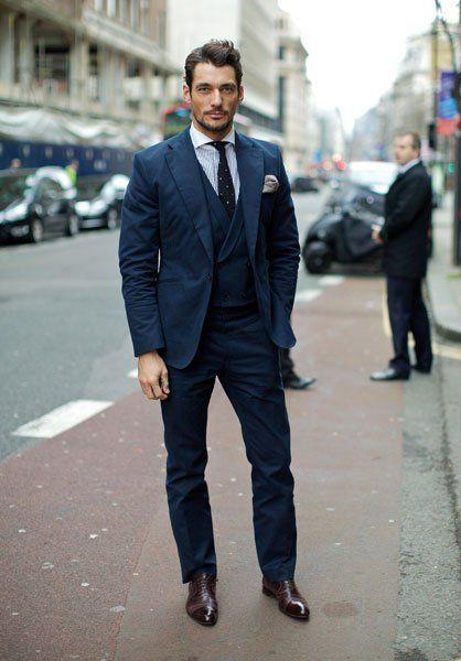 David Gandy in navy blue suit