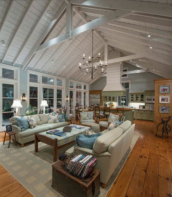 Open floor layout with exposed beams and vaulted ceiling - yes please!