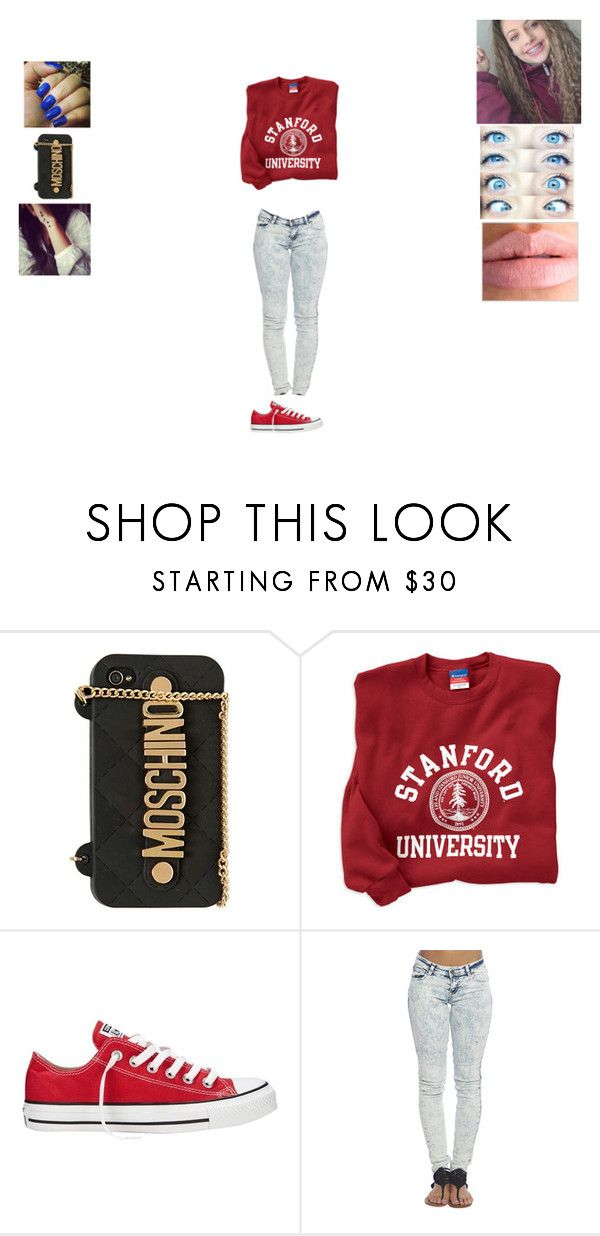 """""""Stanford"""" by trapicana12 ❤ liked on Polyvore featuring Moschino, Converse and Wet Seal"""
