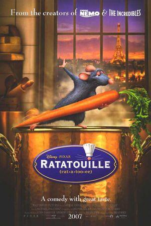 Ratatouille, film d'animation très sympa. Vous ne verrez plus les rats de la même façon...