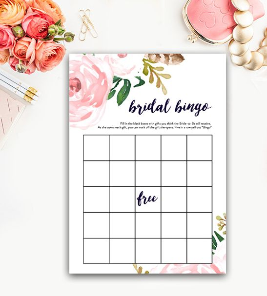 Bridal Shower Bingo - Watercolor Flowers - Instant Download Printable