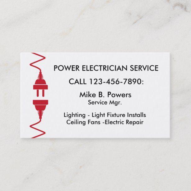 Modern Electrician Business Cards Zazzle Com Business Card Template Design Electrician Business Card Template