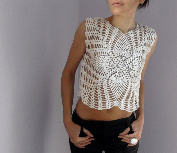 White Princess  Crocheted tank top  Cotton by Silvia66 on Etsy, $115.00