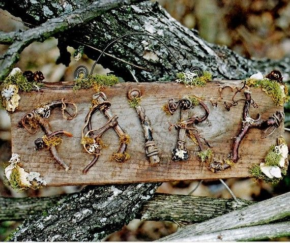 I would love to make one of these! Twig Fairy Sign Custom Order by pandorajane on Etsy, $50.00