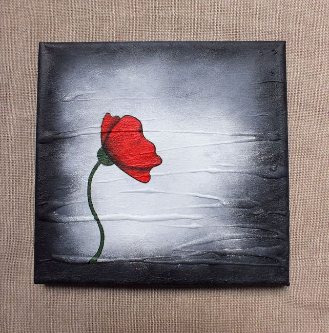 NOVEMBER 2012 - Poppies - Poppy Painting. Original Poppy on a Box Canvas. Red & Black, by The Mucky Pup Gallery, £25