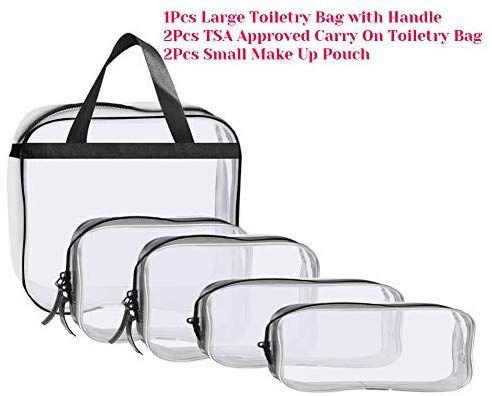 df2380951810 Selizo 5Pcs Waterproof Clear Toiletry Bag with 2 Pcs TSA Approved ...