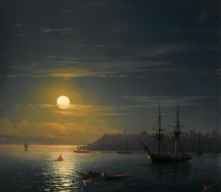 View of Istanbul in Moonlight, 19th Century 'Ivan Aivazovsky'