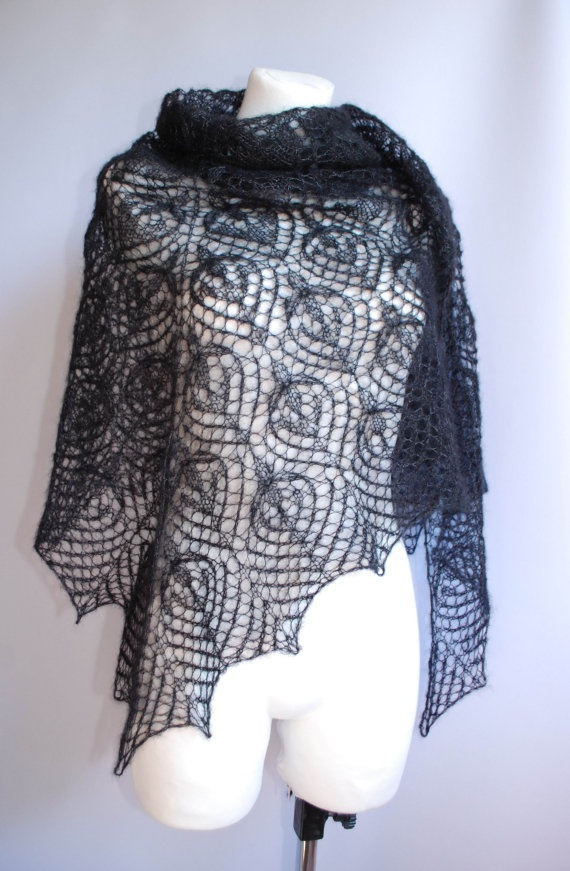 Black lilies black hand knitted lace shawl stole by aboutCRAFTS, $110.00