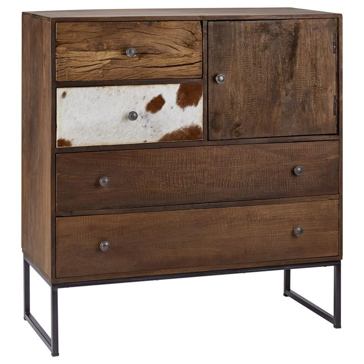 Atelier - Griffintown - Reclaimed wood and cowhide cabinet, 4 drawers and 1 door