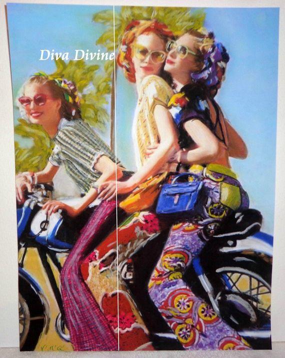 Peinture Pastel Sec pour Tableau Rétro Vintage  ° LES NANAS ° PEINT A LA MAIN - PASTEL SEC