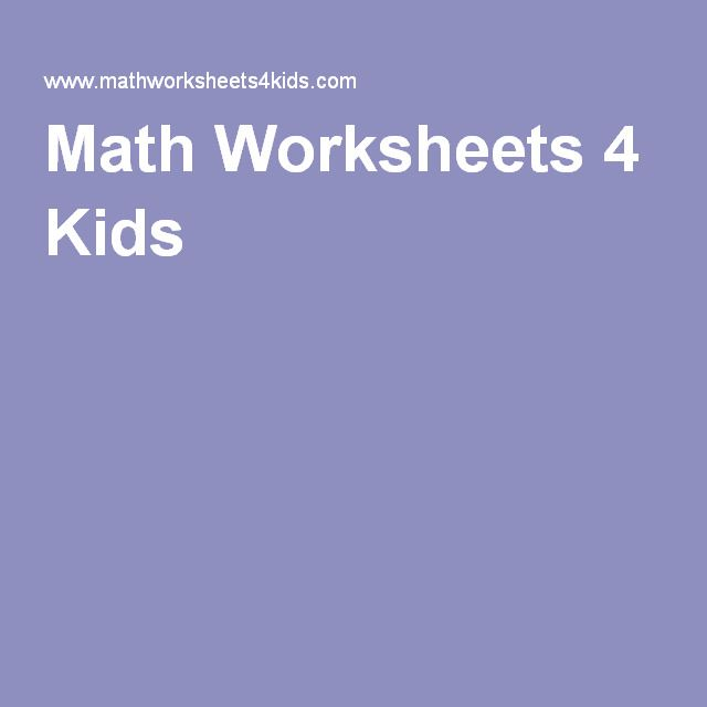 Math Worksheets 4 Kids FREE worksheets for children from kindergarten through 8th grade. Few high school topics are also included.