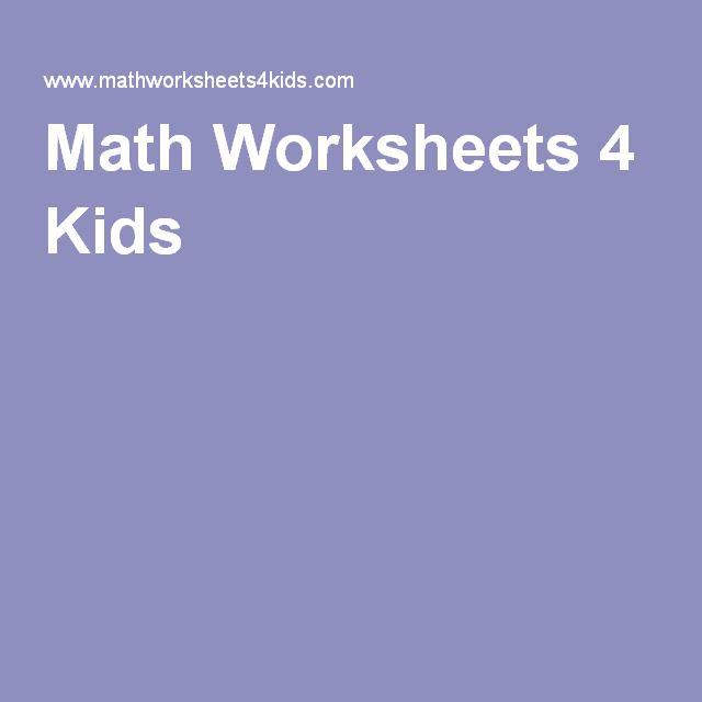 1000+ ideas about Math Worksheets 4 Kids on Pinterest   Math 4 ...