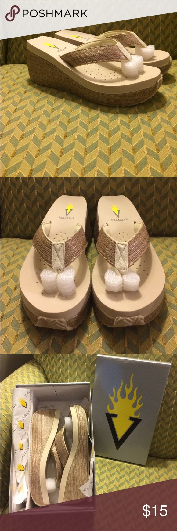 Volatile wedge flip flops. These flip flop sandals are brand new and so cute!  Great for the beach, hanging out by the pool or anytime really. Never been worn and still in original box. Volatile Shoes Sandals