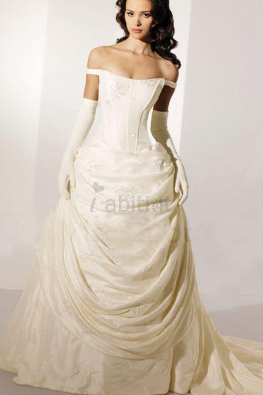 Abito da Sposa Formale con Manica Corte Romantico Ball Gown sexy