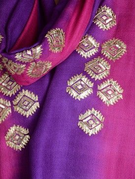 Pink-Purple Gota Patti Cashmere Wool Stole