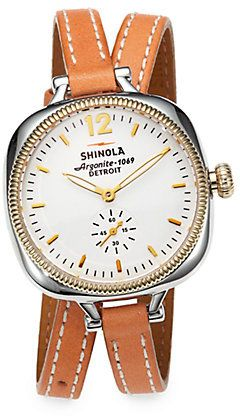 $545, Tan Leather Watch: Shinola Golmesky Two Tone Stainless Steel Leather Double Wrap Watch. Sold by Saks Fifth Avenue. Click for more info: https://lookastic.com/women/shop_items/65147/redirect