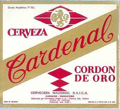 Venezuela-cervecera-nacional-Caracas-Cardenal-Cordon-De-Oro-cerveza-etiqueta-C1387